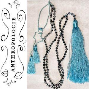 Baby Blue Tassel/ Beaded Anthropologie Necklace